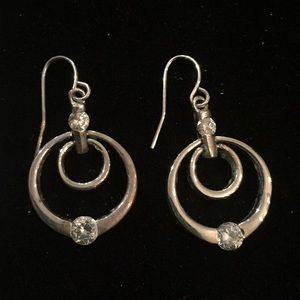 Jewelry - Silver earrings with clear rhinestone